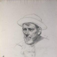 Arte: DIBUJO AL CARBONCILLO CARA SE HOMBRE CON SOMBRERO PRINCIPIOS SIGLO XX. Lote 177650099