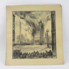 Arte: JOAN PAU BOCQUET BERTRAN (1904 - 1966), INCENDIO DE EDIFICIO EN LA CALLE, DIBUJO AL CARBONCILLO.. Lote 177788599