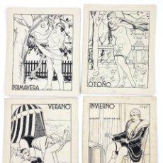 Arte: EROTISMO. 4 DIBUJOS 15,5X18,5CM. DE LAS 4 ESTACIONES, FIRMADO: ARGUS. ESPAÑA, 1930'S.. Lote 178133319