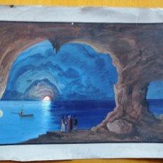 Arte: INTERIOR DE LA GROTTA AZURRA EN CAPRI. POSTERIOR A AUGUST KOPISCH, GUACHE SOBRE PAPEL. CA.1860-70. Lote 178134444