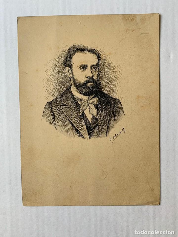 JOSEP BLANQUET TABERNER- RETRATO (Arte - Dibujos - Modernos siglo XIX)