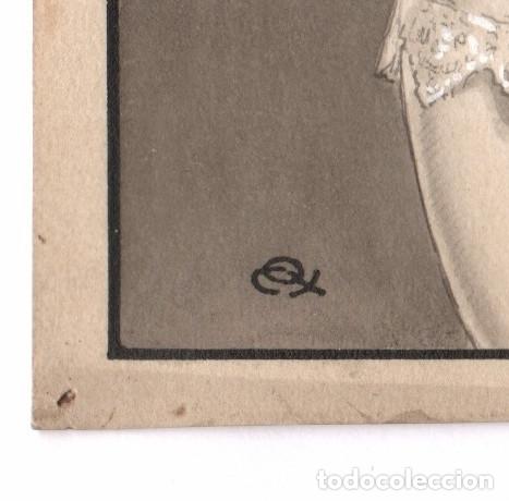 Arte: EROTISMO - Portada de novela, dibujo en tinta sobre papel, Firmado. España, 1930s. 13,5x19cm. - Foto 2 - 178137653