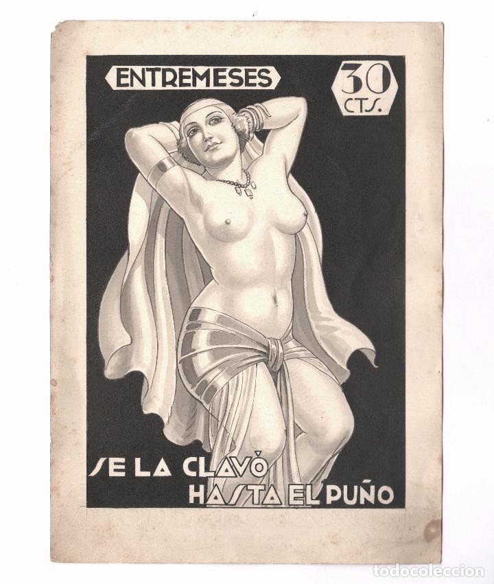 EROTISMO - PORTADA DE NOVELA, DIBUJO EN TINTA SOBRE PAPEL, SIN FIRMAR. ESPAÑA, 1930'S. 16X22CM. (Arte - Dibujos - Contemporáneos siglo XX)