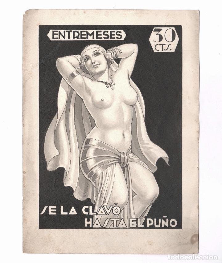 Arte: EROTISMO - Portada de novela, dibujo en tinta sobre papel, sin firmar. España, 1930s. 16x22cm. - Foto 2 - 178139590