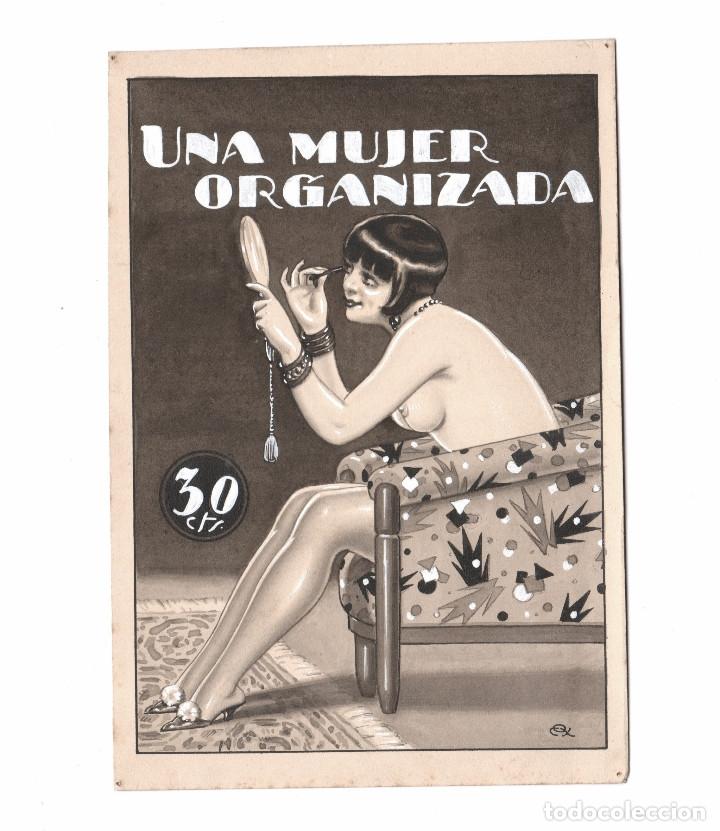 EROTISMO - PORTADA DE NOVELA, DIBUJO EN TINTA SOBRE PAPEL, FIRMADO. ESPAÑA, 1930'S. 14X20CM. (Arte - Dibujos - Contemporáneos siglo XX)
