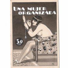 Arte: EROTISMO - PORTADA DE NOVELA, DIBUJO EN TINTA SOBRE PAPEL, FIRMADO. ESPAÑA, 1930'S. 14X20CM.. Lote 178140652