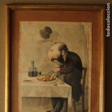 Arte: JOSEP PARERA Y ROMERO - CARICATURA ORIGINAL EN COLOR SIGLO XIX - FIRMADA. Lote 178141114