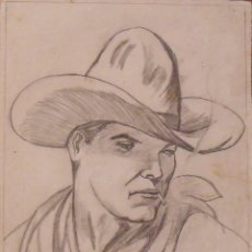 Arte: SILVESTRE RÍOS LÓPEZ. DIBUJO A LÁPIZ. COWBOY FUMANDO. FIRMADO. 1947. 23X17 CM. . Lote 178146153