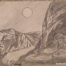 Arte: SILVESTRE RÍOS LÓPEZ. DIBUJO A LÁPIZ. MONTAÑAS ROCOSAS AMERICANAS. FIRMADO. 16X22 CM. 1947.. Lote 178146440