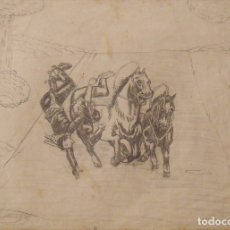 Arte: SILVESTRE RÍOS LÓPEZ. DIBUJO A LÁPIZ. COWBOYS CAYENDO DE CABALLOS. FIRMADO. 23X31 CM. 1946.. Lote 178146800