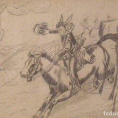 Arte: SILVESTRE RÍOS LÓPEZ. DIBUJO A LÁPIZ. COWBOY CABALGANDO CON CABALLO. FIRMADO. 23X31 CM. 1946.. Lote 178146899