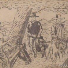 Arte: SILVESTRE RÍOS LÓPEZ. DIBUJO A LÁPIZ. INDIOS Y COWBOYS. FIRMADO. 23X12 CM. 1946.. Lote 178147519