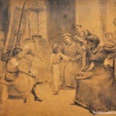 Arte: ESCUELA CATALANA DE AUTOR ANONIMO. DIBUJO CARBÓN DE FINALES DEL SIGLO XIX. ESCENA EN LA ACADEMIA. Lote 178170375