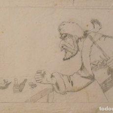 Arte: SILVESTRE RÍOS LÓPEZ. DIBUJO A LÁPIZ. CAZADOR CON PIELES. SIN FIRMAR. 33X23CM.. Lote 178177653