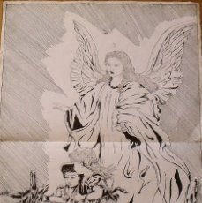Arte: SILVESTRE RÍOS LÓPEZ. DIBUJO A TINTA. EL ÁNGEL DE LA GUARDA Y NIÑOS. FIRMADO. 1949. 70X48 CM.. Lote 178178341