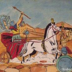 Arte: SILVESTRE RÍOS LÓPEZ. DIBUJO A TINTA Y ACUARELA. CUADRIGA DE ROMANOS. FIRMADO. 23X30 CM. 1946.. Lote 178179900