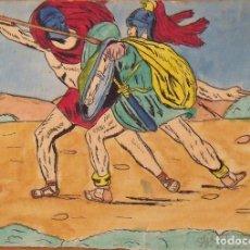 Arte: SILVESTRE RÍOS LÓPEZ. DIBUJO A TINTA Y ACUARELA. LUCHA DE GRIEGOS. FIRMADO. 16X23 CM. 1945. . Lote 178180155
