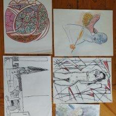Arte: LOTE 6 DIBUJOS ORIGINALES. TAMAÑO FOLIO. SIN FIRMA. Lote 178200257
