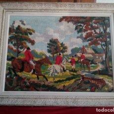 Arte: PRECIOSO CUADRO HECHO EN PUNTO DE CRUZ,MOTIVO CACERÍA,AÑOS 40. Lote 178234226