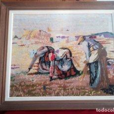 Arte: PRECIOSO DIBUJO HECHO EN PUNTO DE CRUZ,MOTIVO COSECHA. Lote 178234417