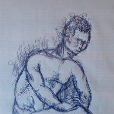 Arte: FÉLIX ALBAJES (1911-1996). TINTA SOBRE PAPEL. FIRMADO Y DATADO EN 1979. ETIQUETA DE LA PINCOTECA. Lote 178569266