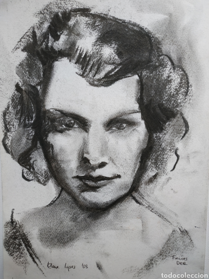 Arte: Dibujo original, retrato carboncillo. Firmado - Foto 2 - 178601247