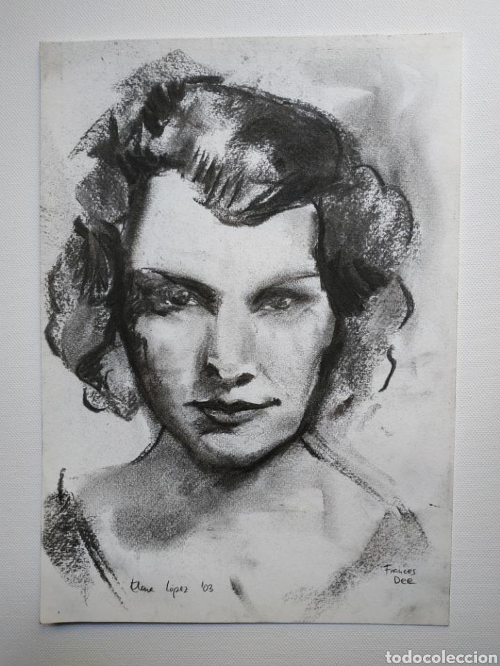 DIBUJO ORIGINAL, RETRATO CARBONCILLO. FIRMADO (Arte - Dibujos - Contemporáneos siglo XX)