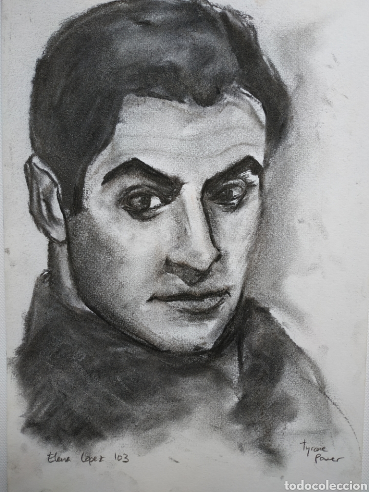 Arte: Dibujo original, retrato carboncillo, firmado - Foto 2 - 178602238