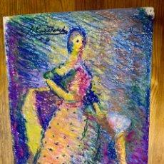 Arte: JOAN CARDELLÀ CRUSELLS 1900-1985, MUJER CON VESTIDO AÑO 50, CERAS, 25X35 CM. Lote 178628135