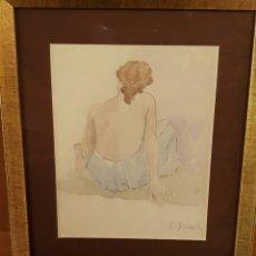 Arte: BLANCH I PLA ,XAVIER (BARCELONA, 1918 -1999) DIBUJO CON MARCO Y CRISTAL, NUEVO. Lote 178656241