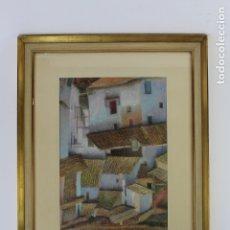 Arte: B-876. PASTEL SOBRE PAPEL, PUEBLO. FIRMADA S.XX.. Lote 178672337