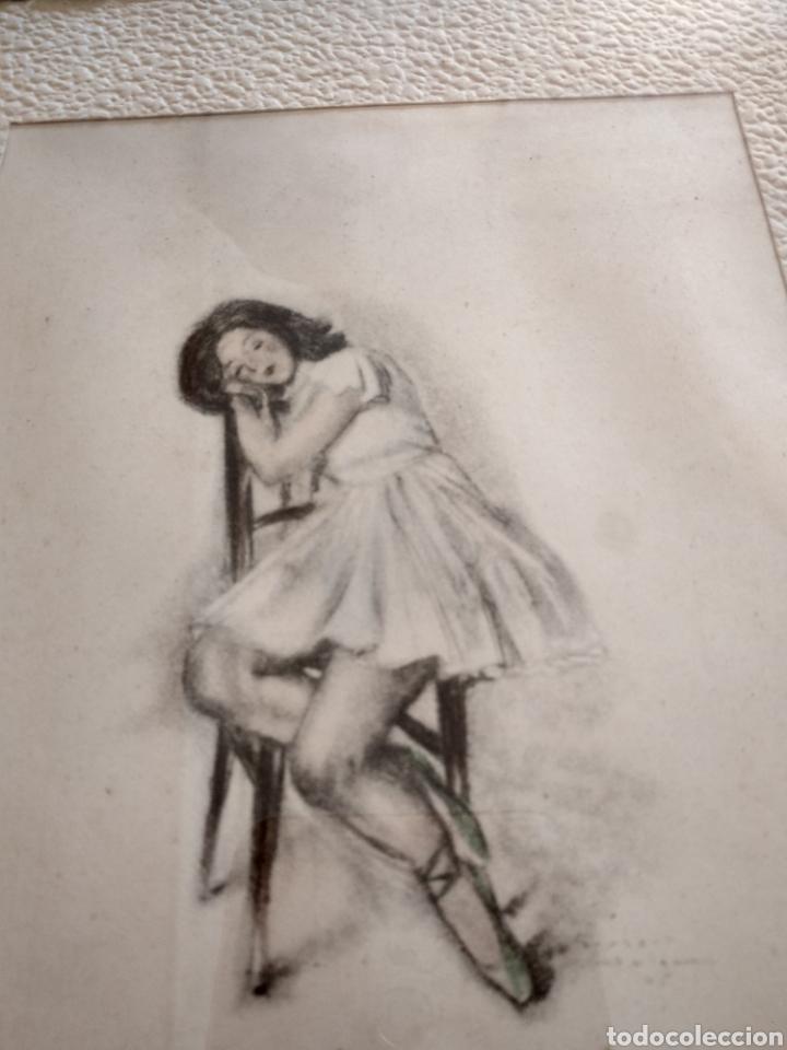 Arte: Dibujo romántico, regalo el marco, el dibujo, paspartú y marco todo es antiguo - Foto 2 - 178681438