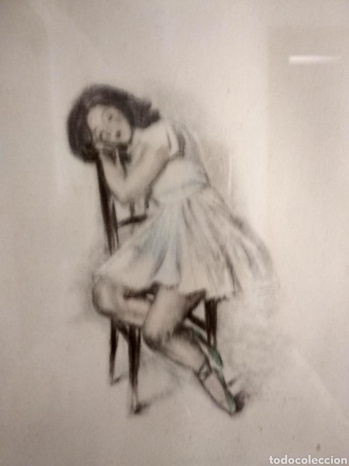 Arte: Dibujo romántico, regalo el marco, el dibujo, paspartú y marco todo es antiguo - Foto 5 - 178681438
