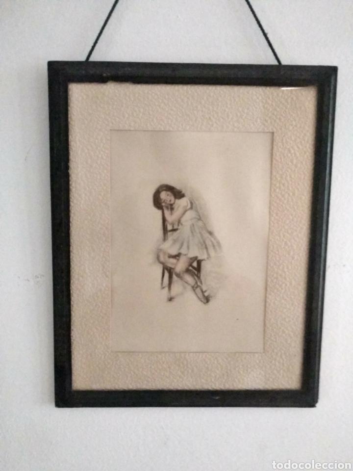 DIBUJO ROMÁNTICO, REGALO EL MARCO, EL DIBUJO, PASPARTÚ Y MARCO TODO ES ANTIGUO (Arte - Dibujos - Modernos siglo XIX)