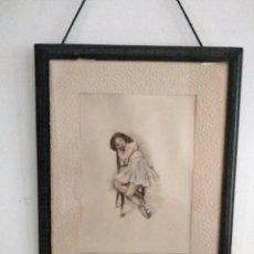 Arte: DIBUJO ROMÁNTICO, REGALO EL MARCO, EL DIBUJO, PASPARTÚ Y MARCO TODO ES ANTIGUO. Lote 178681438
