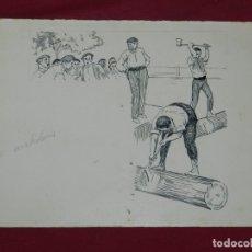 Arte: (M) DIBUJO ORIGINAL ANTONIO UTRILLO - ESCENA DE LOS AIZKOLARIS, 25X16,5 CM, SEÑALES DE USO NORMALES. Lote 178792736