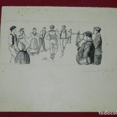 Arte: (M) DIBUJO ORIGINAL ANTONIO UTRILLO - ESCENA DAURAS DEL PAIS, 18X16 CM, SEÑALES DE USO NORMALES. Lote 178793063