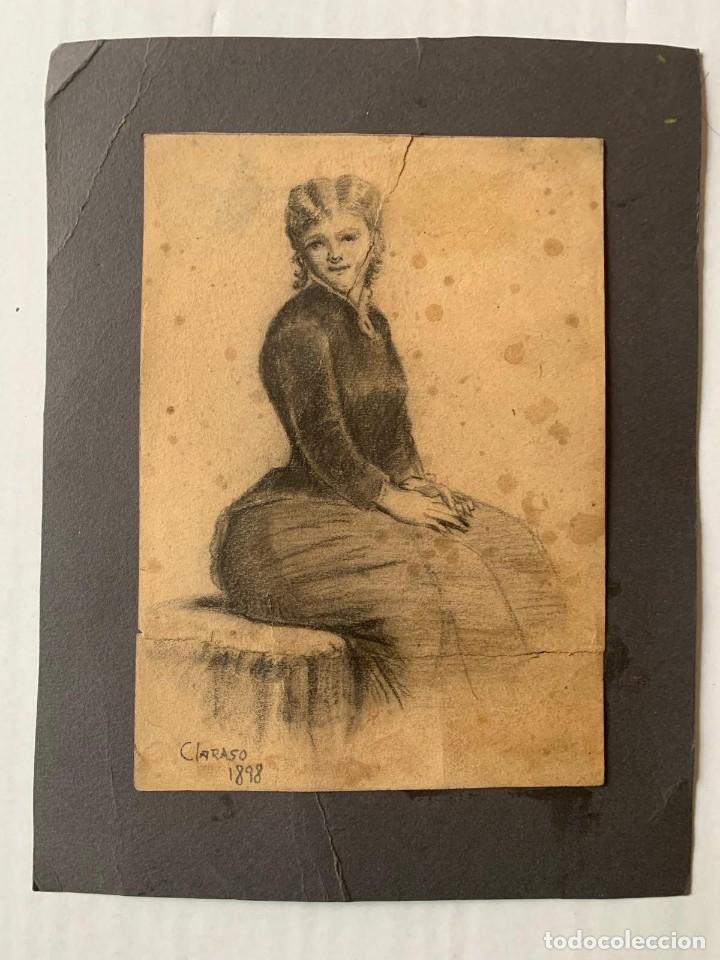 ENRIC CLARASÓ I DAUDÍ - DAMA (Arte - Dibujos - Modernos siglo XIX)