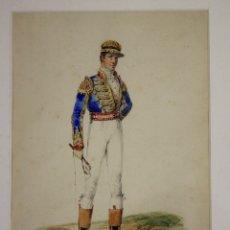 Arte: DELANTERO DE CABALLOS. ACUARELA Y TINTA. EQUITACION. SIGLO XIX. Lote 178934558