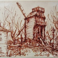 Arte: DIBUJO A TINTA, SANGUINA, DE MONTMATRE. JUAN SOLER PUIG (1906-1984). Lote 178951625