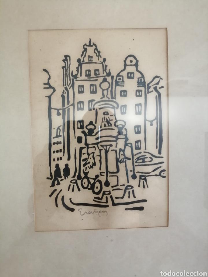 Arte: Dibujo a tintas. Ilegible. - Foto 3 - 179019020