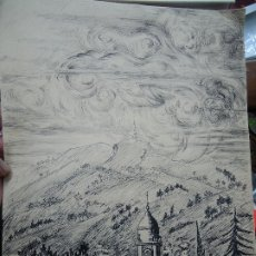 Arte: ANTIGUO DIBUJO A TINTA FIRMADO MIDE 33 X 25 CM. ES MUY ANTIGUO . Lote 179025235
