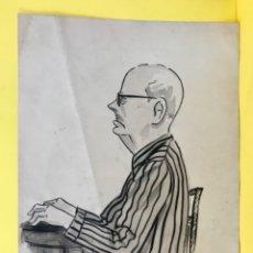 Arte: ALFREDO ENGUIX PINTURA ORIGINAL INEDITA HOMBRE RETRATO PERFIL 1951 PINTOR ENGUIX 23,1X 16,7 . Lote 179070928