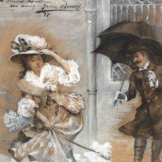 Arte: GABRIEL BORRAS ABELLA (VALENCIA, 1875 - BCN, 1943) TECNICA MIXTA PAPEL FECHADO DEL 1897. ILUSTRACION. Lote 179381880