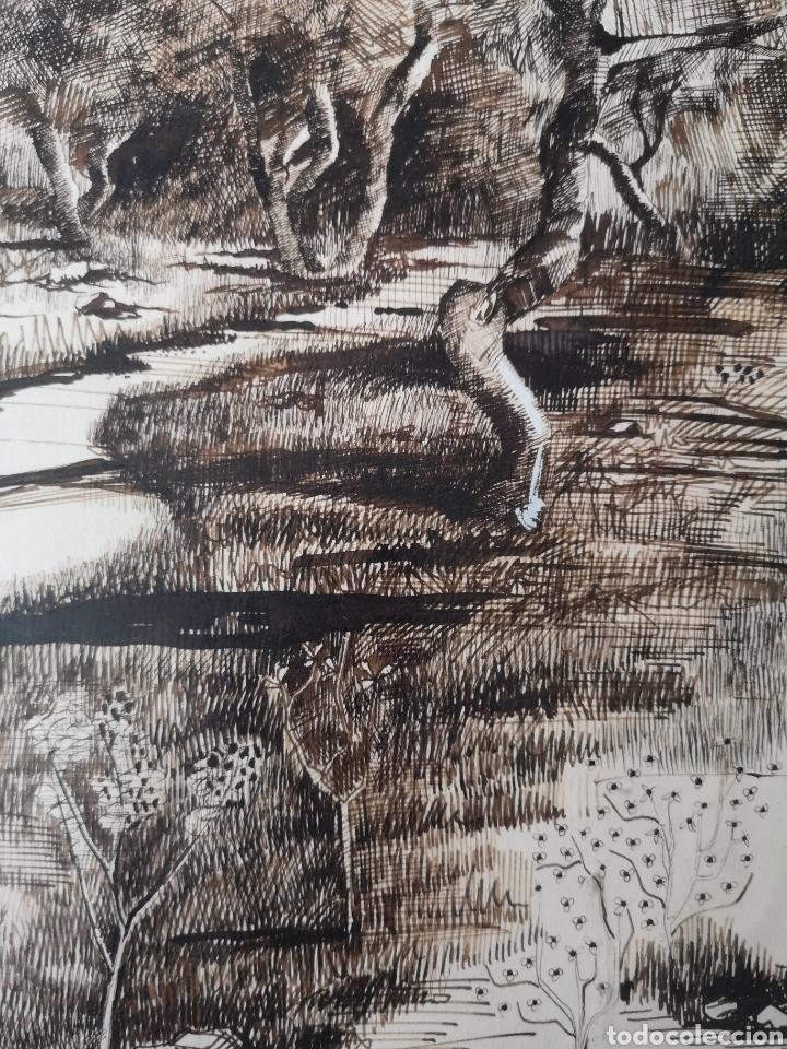 Arte: Dibujo a tinta y acuarela, autor alicantino, firmado, enmarcado mide 42x52cm - Foto 4 - 180014526