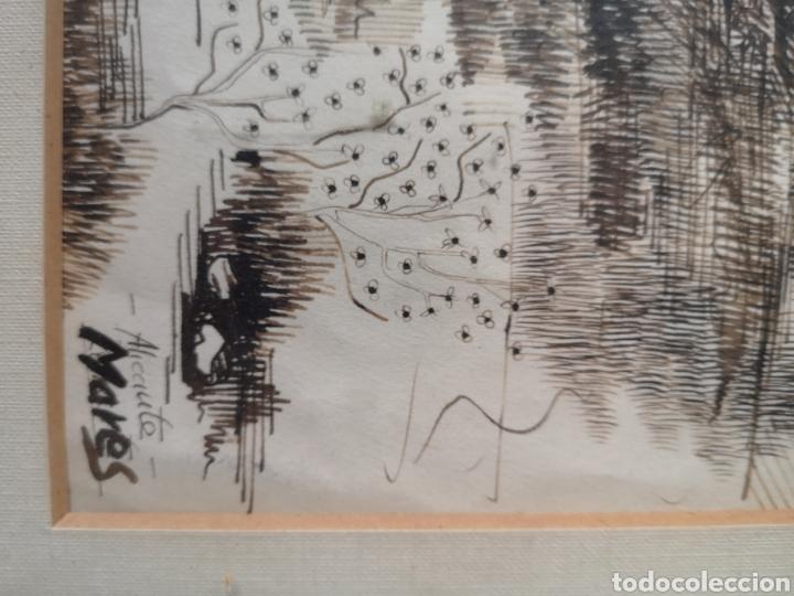 Arte: Dibujo a tinta y acuarela, autor alicantino, firmado, enmarcado mide 42x52cm - Foto 5 - 180014526