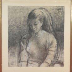 Arte: RETRATO DE MUJER. DIBUJO AL PASTEL SOBRE PAPEL. FIRMADO PIZARRO. 1948.. Lote 180071627