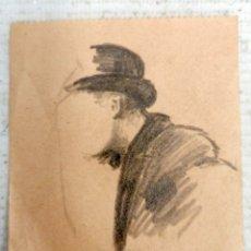 Arte: ANONIMO FINALES DEL SIGLO XIX. DIBUJO A CARBON. ESBOZO DE UN PERSONAJE. Lote 180072252