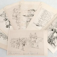 Arte: EUGENIO ALVAREZ DUMONT (1864 - 1927) LOTE DE 7 DIBUJOS EN TINTA SOBRE PAPEL. MILITARES. Lote 180074956