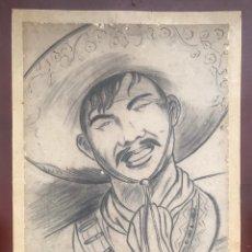 Arte: DIBUJO CHARRO MEJICANO MEXICANO AÑOS 50. 1951 SOMBRERO BALAS PISTOLERO TIPICO VINTAGE GUERRILLERO. Lote 180083895